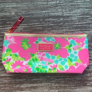 Lilly Pulitzer Floral Pink Plastic Makeup Bag